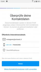 Instagram Business Profil Kontaktdaten überprüfen