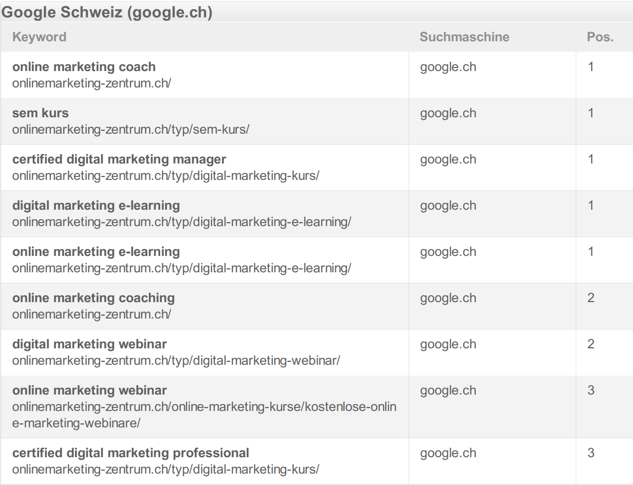 Das Google-Ranking vom Online Marketing Zentrum