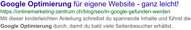 Suchtreffer auf der Google Suchergebnisseite