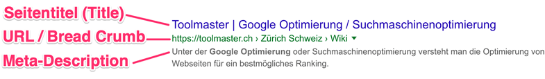 So sieht ein Suchtreffer auf den Google Suchergebnisseiten (SERP) aus