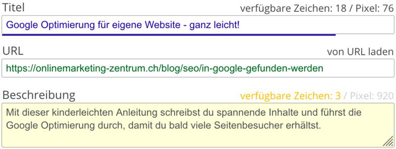 Titel, URL und Beschreibung