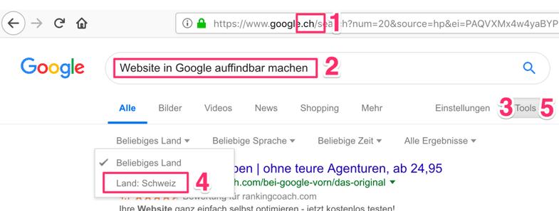 Finde die Anzahl Treffer heraus, indem du bei Google jedes Wort einzeln abfragst. Du hast sogar die Möglichkeit, die Treffer auf ein Land zu begrenzen