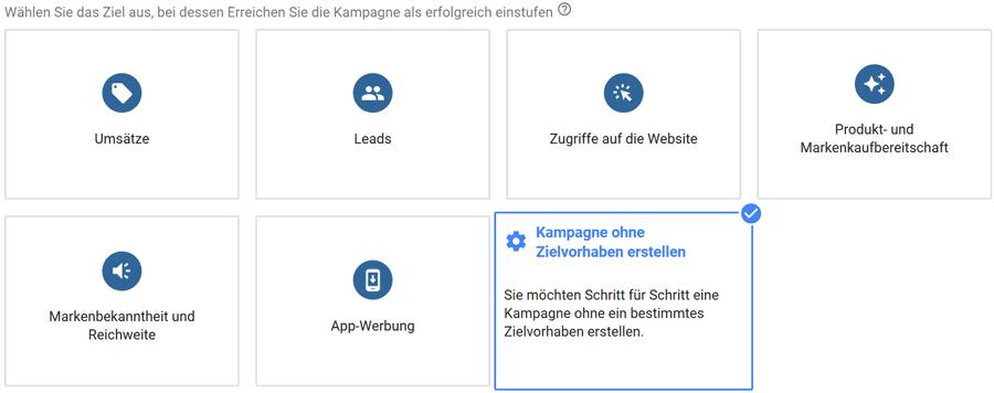 Kampagne ohne Zielvorhaben in Google Ads erstellen