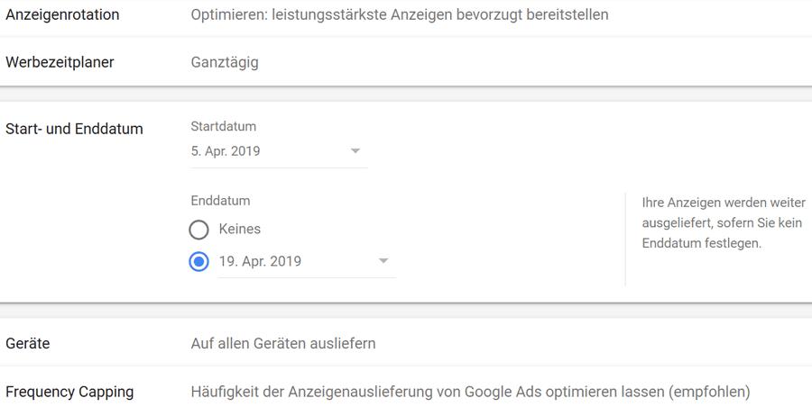 Das Startdatum und Enddatum deiner Google Ads Kampagne wählen