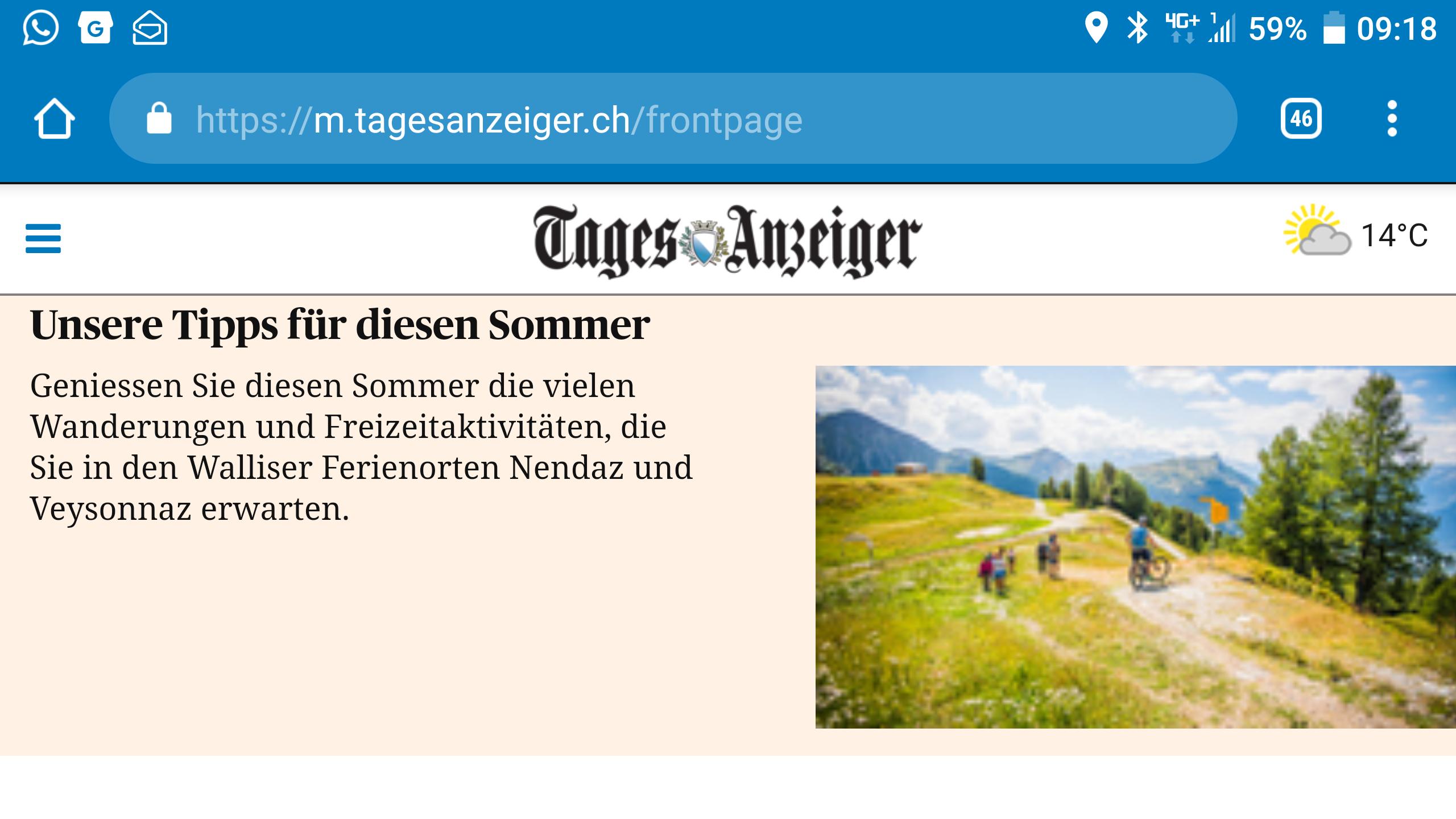 Mobile Werbung beim Tages-Anzeiger.